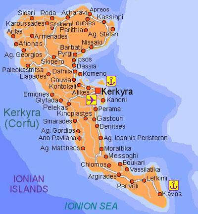 mapa grcke krf BalkanMagazin :: JONSKA OSTRVA – KRF (1) mapa grcke krf